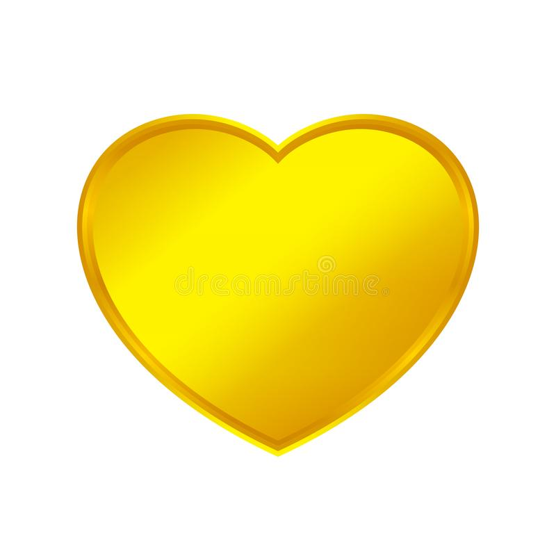 A forma do coração do ouro isolada no fundo branco, coração dourado deu forma ao ícone, logotipo do coração do ouro, image ilustração royalty free