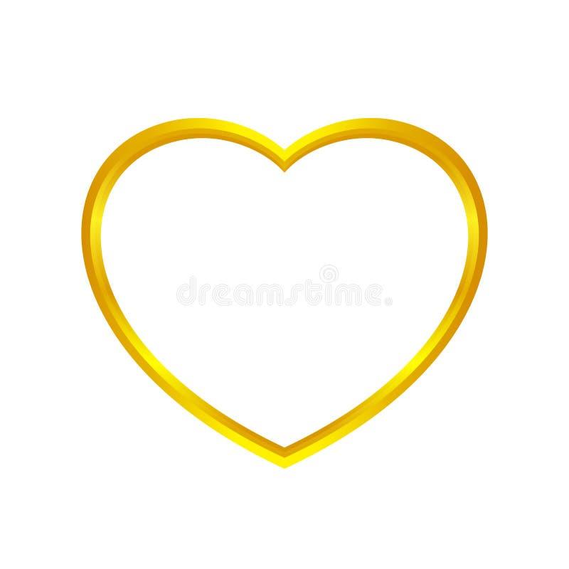 A forma do coração do ouro isolada no fundo branco, coração dourado deu forma ao ícone, logotipo do coração do ouro, image ilustração stock