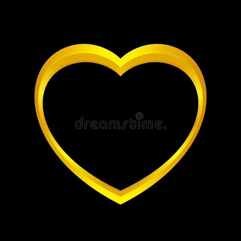 A forma do coração do ouro isolada no fundo preto, coração dourado deu forma ao ícone, logotipo do coração do ouro, imagem ilustração stock