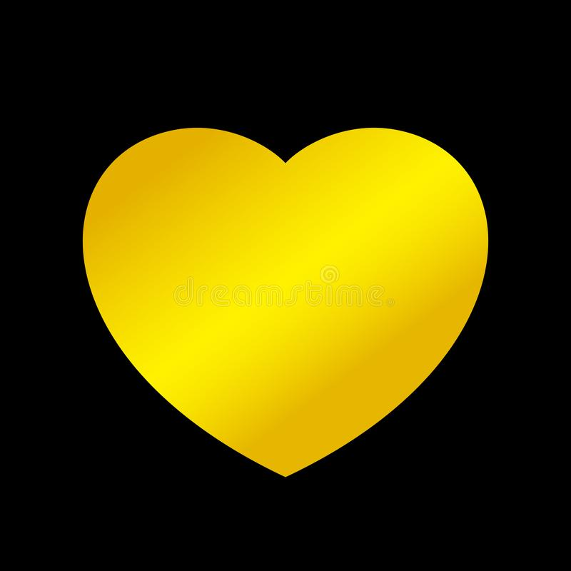 A forma do coração do ouro isolada no fundo preto, coração dourado deu forma ao ícone, logotipo do coração do ouro, imagem ilustração do vetor