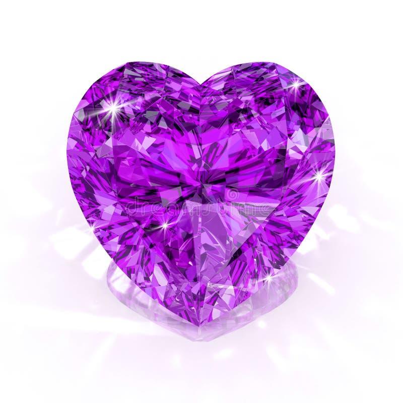 Forma do coração roxo do diamante ilustração do vetor