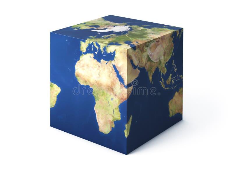 Forma do cubo da terra ilustração royalty free