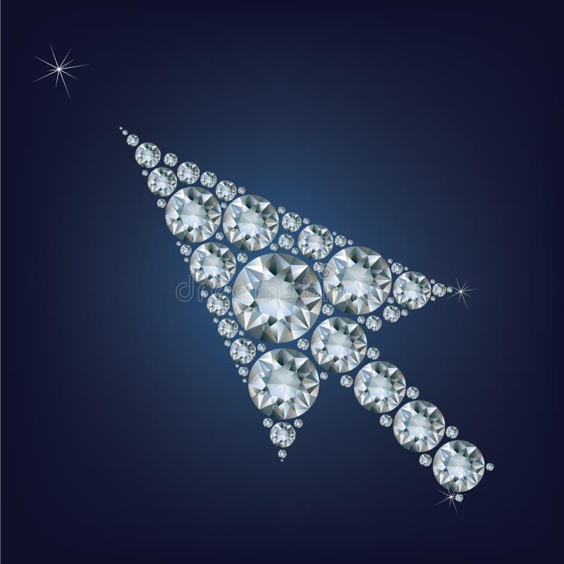 A forma do cursor da seta compôs muitos diamantes ilustração royalty free