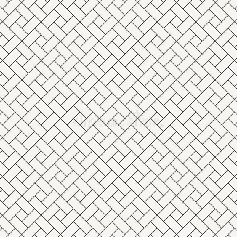 Forma do diamante do quadrado do projeto do teste padrão do vetor repetir com inclinação do branco obstrui a telha Tijolos do rev ilustração do vetor