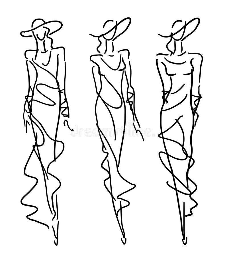 Forma do esboço - mulheres no estilo da noite ilustração do vetor