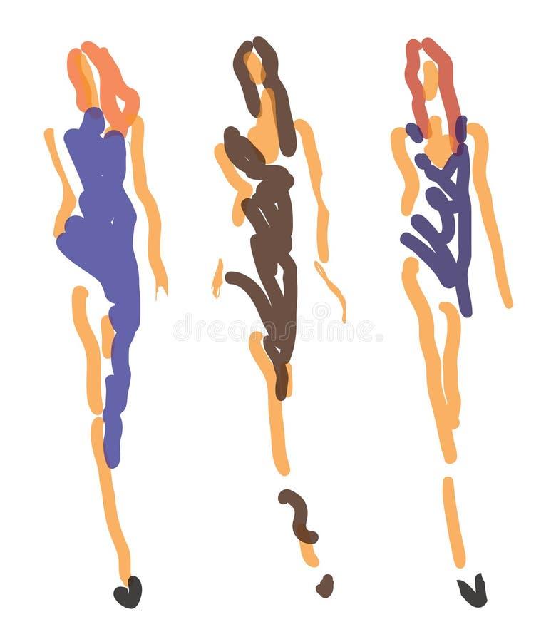 Forma do esboço - mulheres no estilo estilizado ilustração do vetor