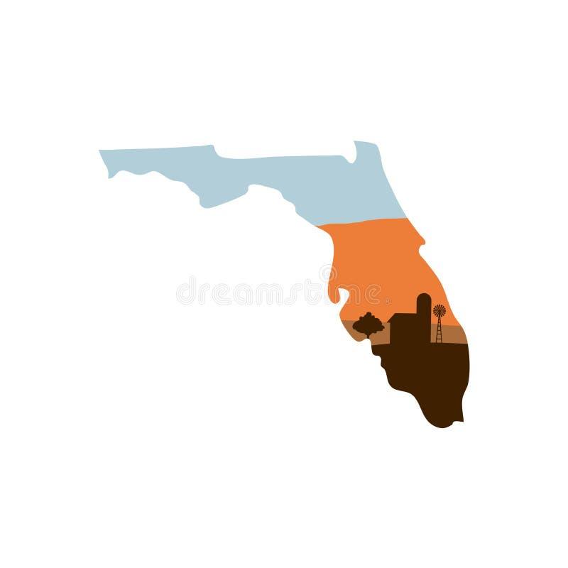 Forma do estado de Florida com a exploração agrícola no moinho de vento, no celeiro, e no a de w do por do sol ilustração stock