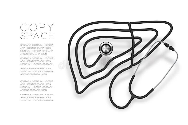 A forma do fígado fez da cor preta do cabo do estetoscópio e da ilustração do projeto de conceito do órgão da ciência médica isol ilustração royalty free