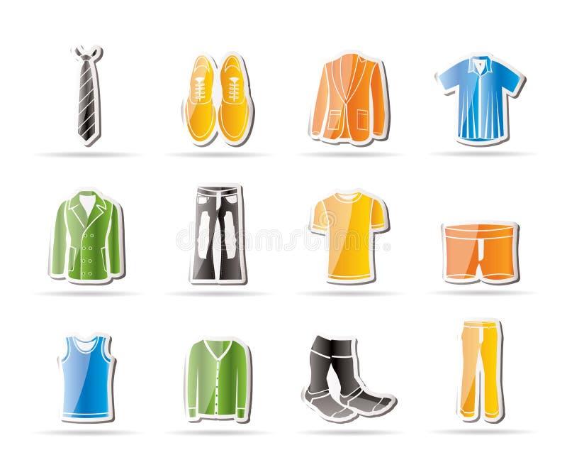 Forma do homem e ícones da roupa ilustração royalty free