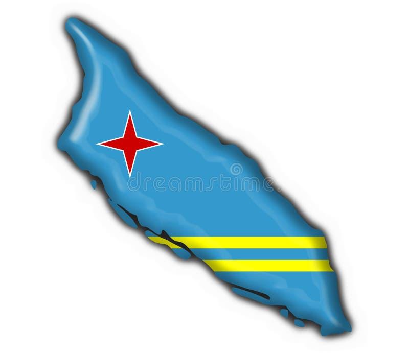 Forma do mapa da bandeira da tecla de Aruba ilustração stock