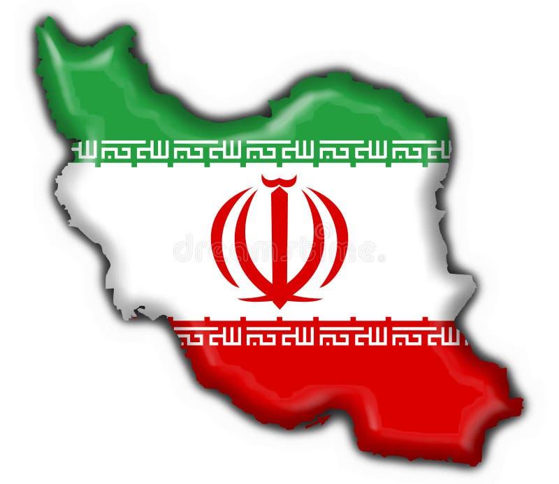 Forma do mapa da bandeira da tecla de Irã ilustração royalty free