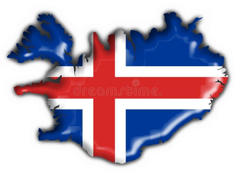 Forma do mapa da bandeira da tecla de Islândia ilustração royalty free