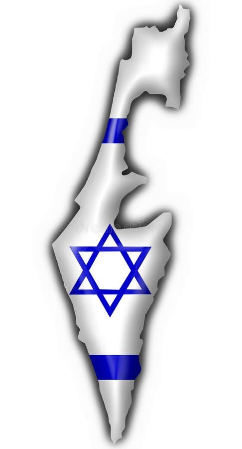 Forma do mapa da bandeira da tecla de Israel ilustração royalty free