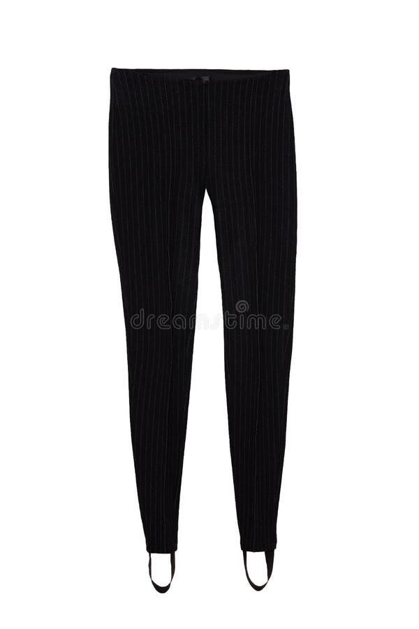 Forma do negócio Calças pretas elegantes fêmeas no estilo do lápis isoladas em um fundo branco Roupa das mulheres de negócios fotos de stock