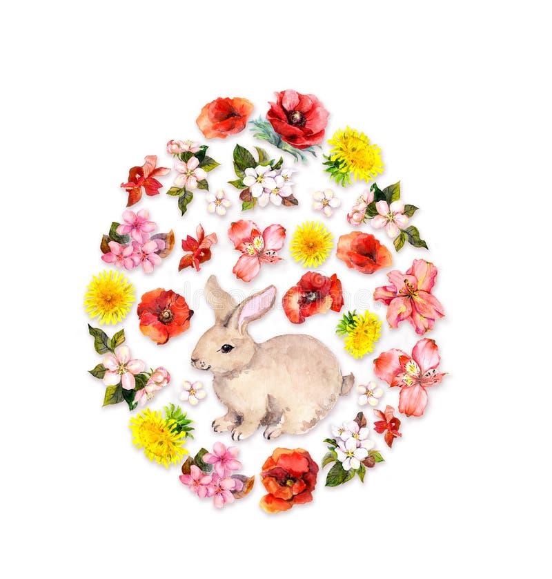 Forma do ovo da páscoa - coelho, flores vermelhas, amarelas da mola, papoilas Watercolour floral ilustração do vetor