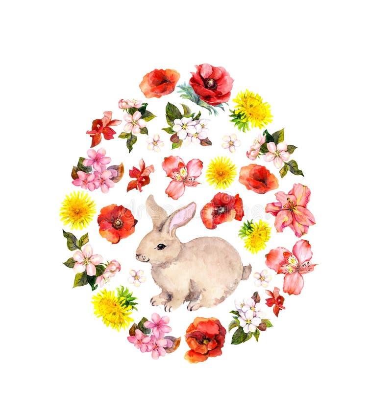 Forma do ovo da p?scoa - coelho, flores vermelhas, amarelas da mola, papoilas Watercolour floral ilustração stock
