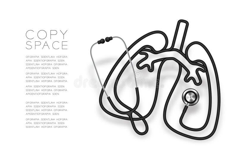 Forma do pulmão feita da cor preta do cabo do estetoscópio e ilustração do projeto de conceito do órgão da ciência médica isolada ilustração do vetor