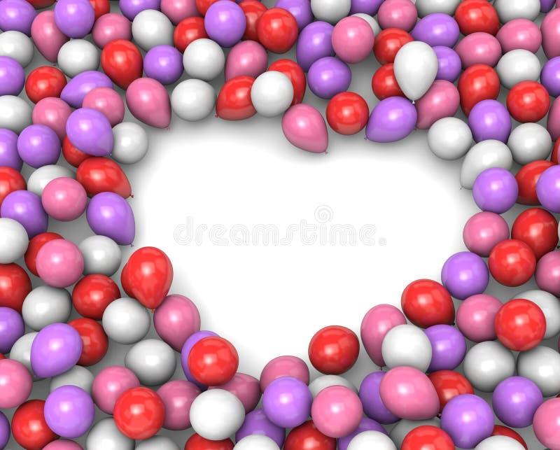 Forma do quadro do coração dos balões ilustração royalty free