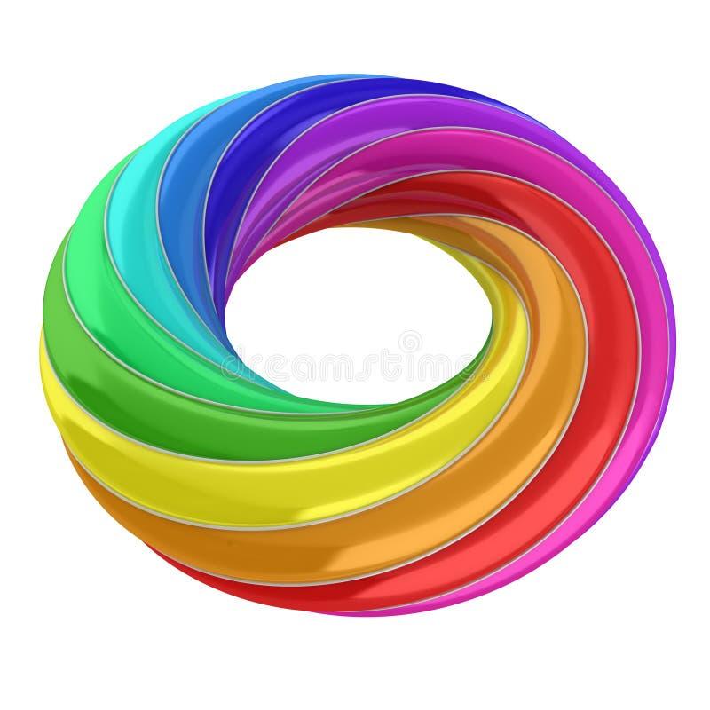 forma do sumário 3d - anel do arco-íris ilustração do vetor