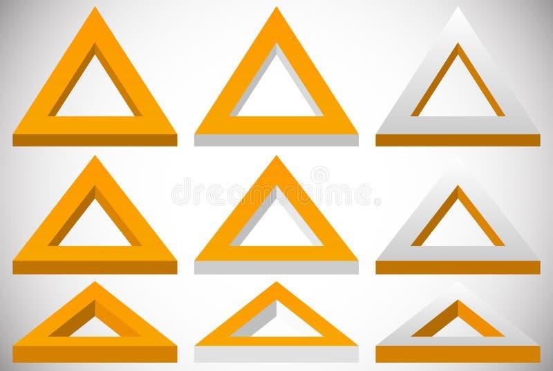 forma do triângulo 3d em mais grupo de cores em ângulos diferentes ilustração do vetor