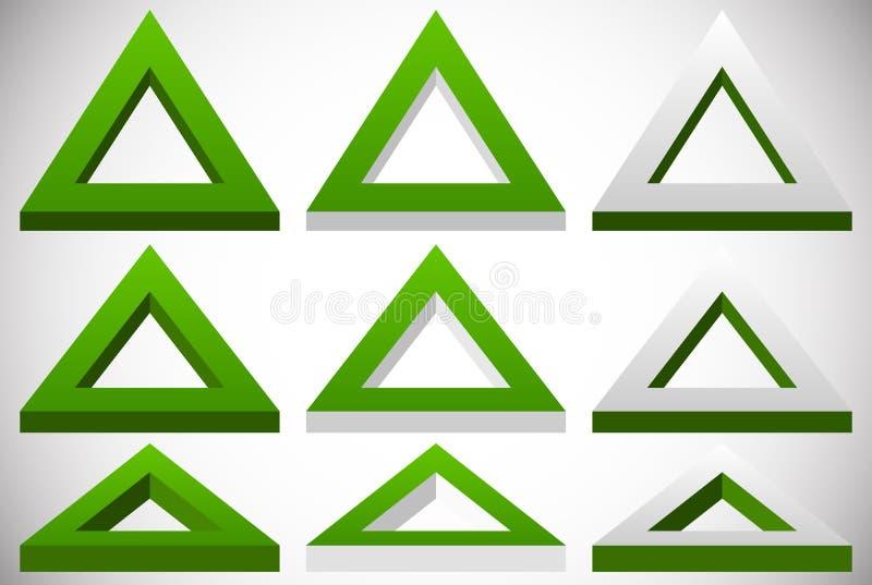 forma do triângulo 3d em mais grupo de cores em ângulos diferentes ilustração stock