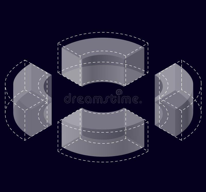Forma do vetor curvado do sumário no preto Tipo isométrico da instituição científica, centro de pesquisa, laboratórios biológicos ilustração stock