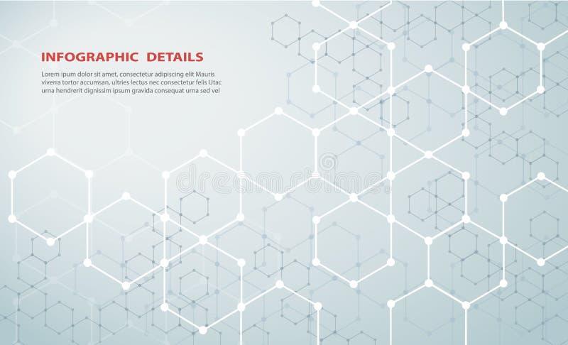A forma do vetor EPS10 do fundo da tecnologia do sumário do projeto de conceito do hexágono ilustração stock