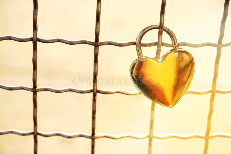 Forma dourada do coração do amor do fechamento da chave do metal com rede do metal para romant fotografia de stock royalty free