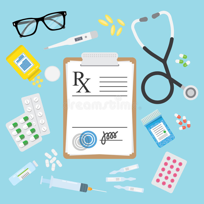 Forma e pillole mediche vuote di Rx di prescrizione illustrazione di stock