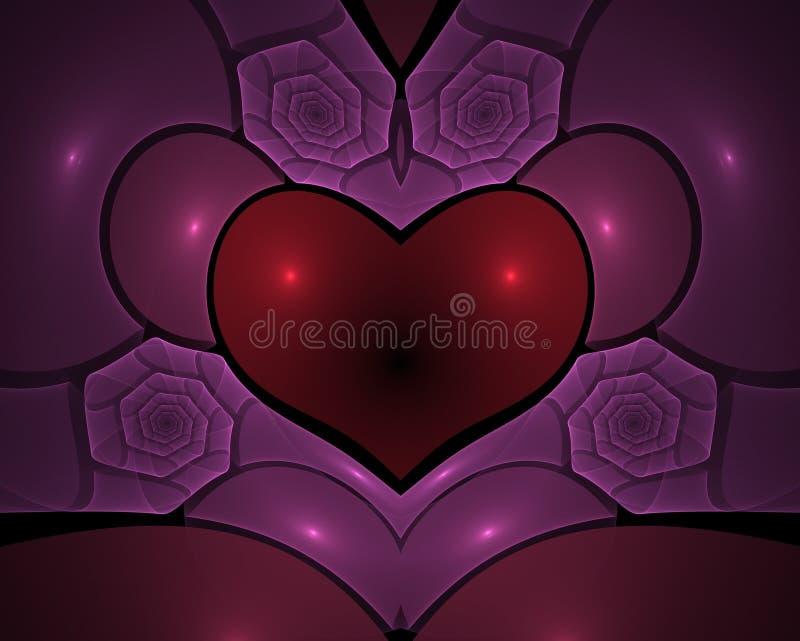 Forma e rosas do coração ilustração royalty free