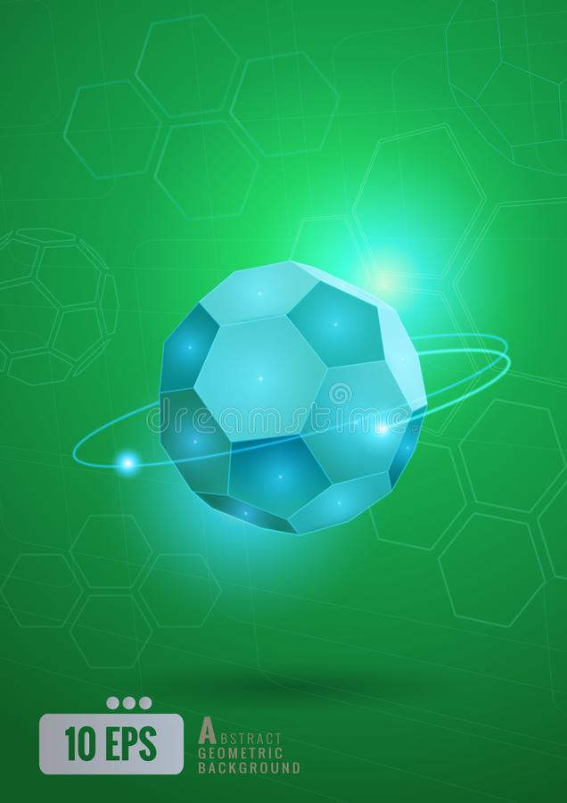 Forma esagonale astratta di calcio con tecnologia BG illustrazione di stock