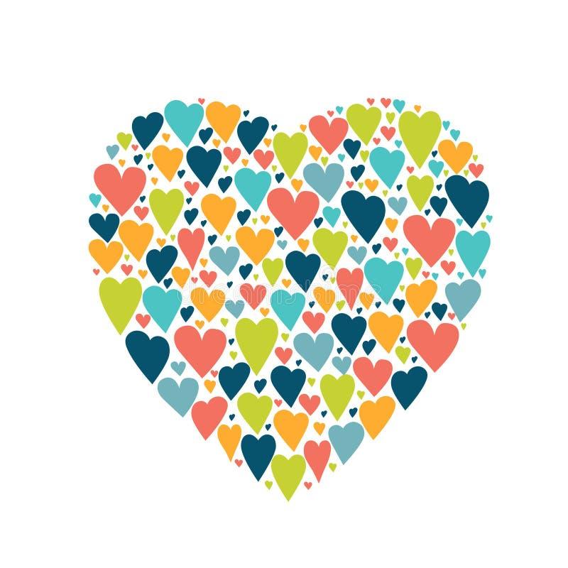 Forma estilizada del corazón Fondo aislado blanco del vector stock de ilustración