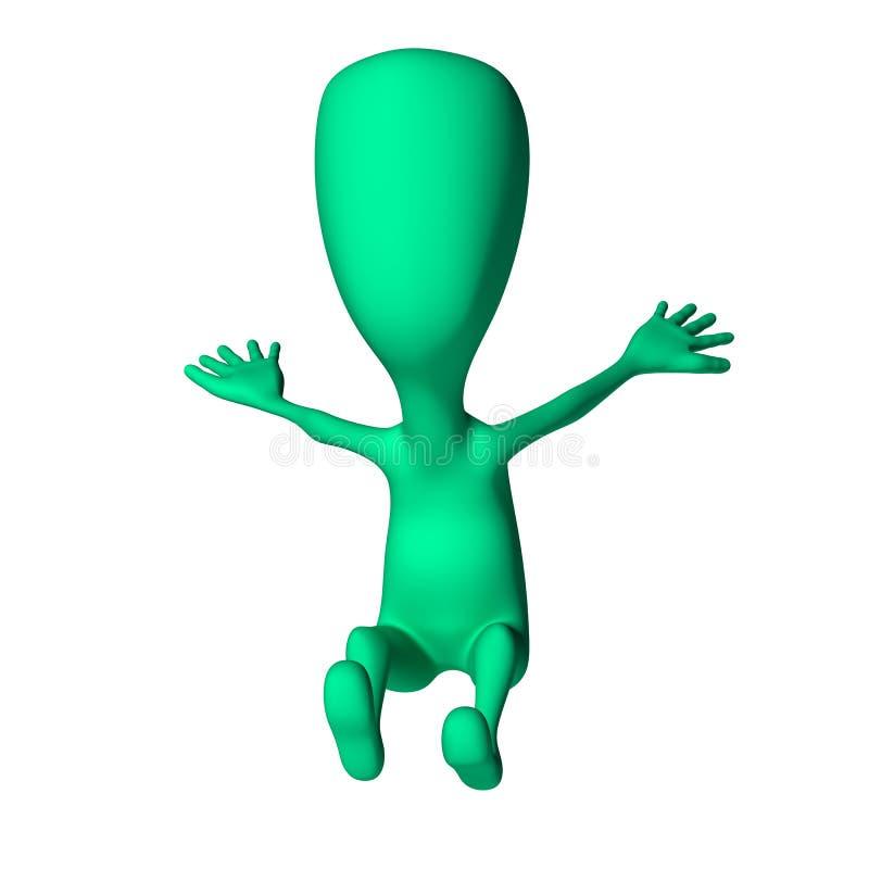 Download Forma Estranha Do Fantoche 3d Verde Que Imita A Aterragem Ilustração Stock - Ilustração de aterragem, humano: 26501538