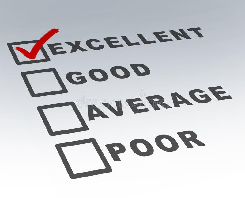 Forma excelente de la encuesta sobre la calidad del cliente imagen de archivo libre de regalías