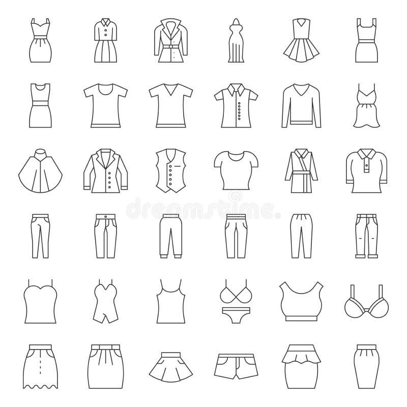Forma fêmea da roupa, do saco, das sapatas e dos acessórios, esboço fino ilustração do vetor