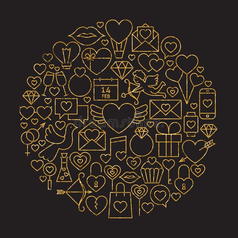 Forma feliz do círculo do ouro e do Valentine Day Line Icons Set do preto ilustração royalty free