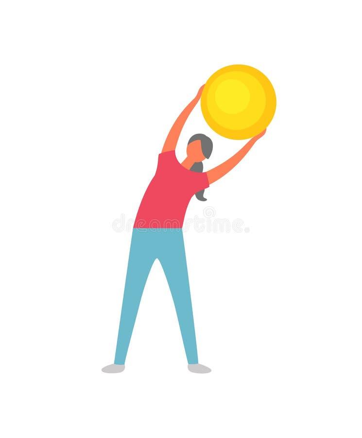 Forma fisica che risolve donna, esercizio di flessibilità illustrazione di stock
