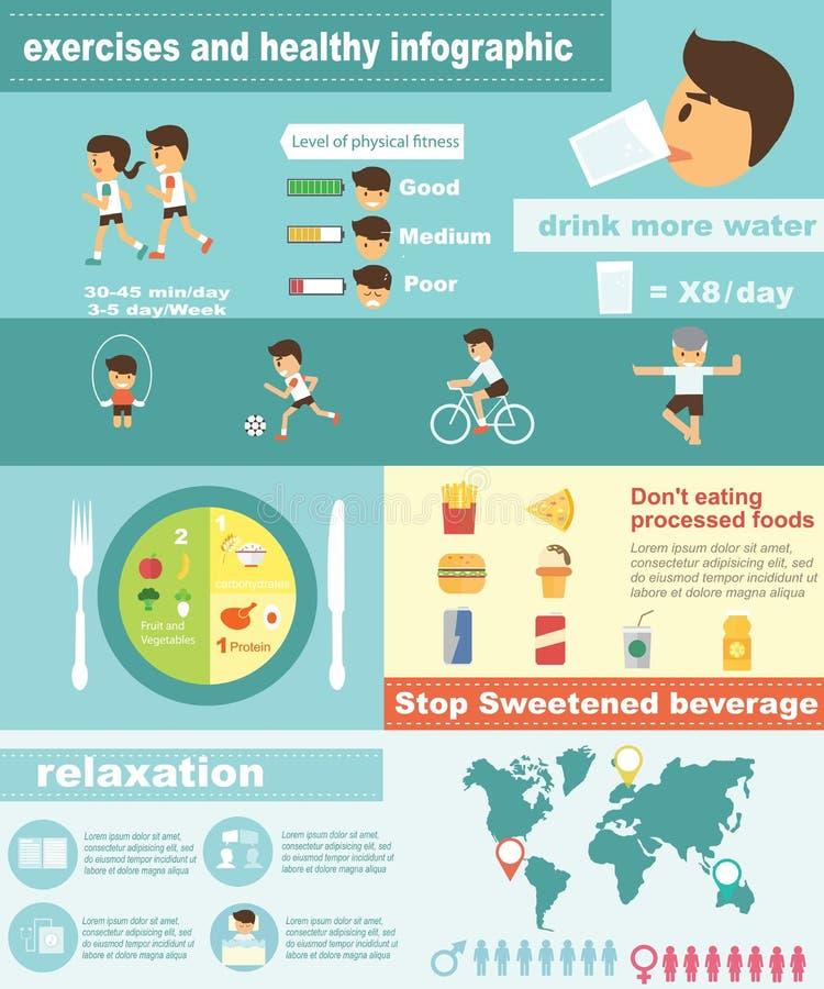 Forma fisica di esercizi e stile di vita sano infographic illustrazione vettoriale