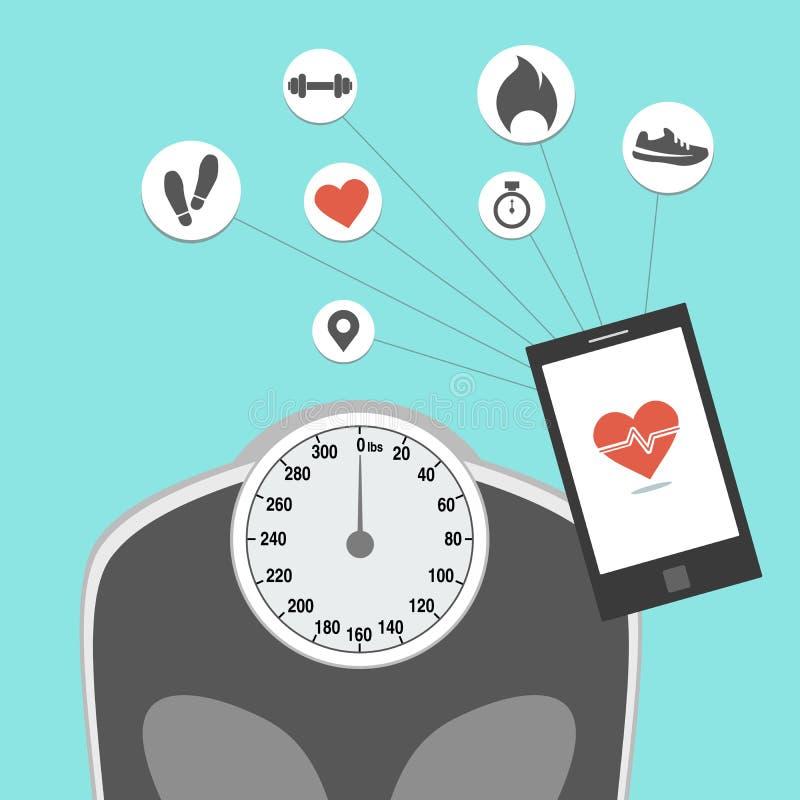 Forma fisica di perdita di peso che segue dispositivo fotografie stock libere da diritti