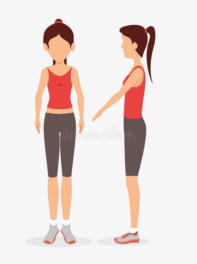 forma fisica differente di esercizio di posa della donna royalty illustrazione gratis