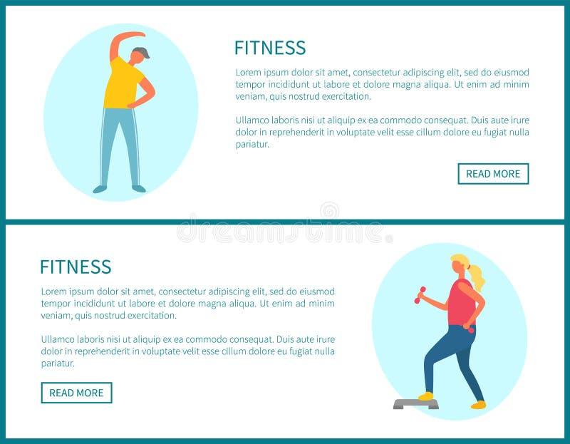 Forma fisica e sport che esercitano i modelli della pagina Web illustrazione vettoriale