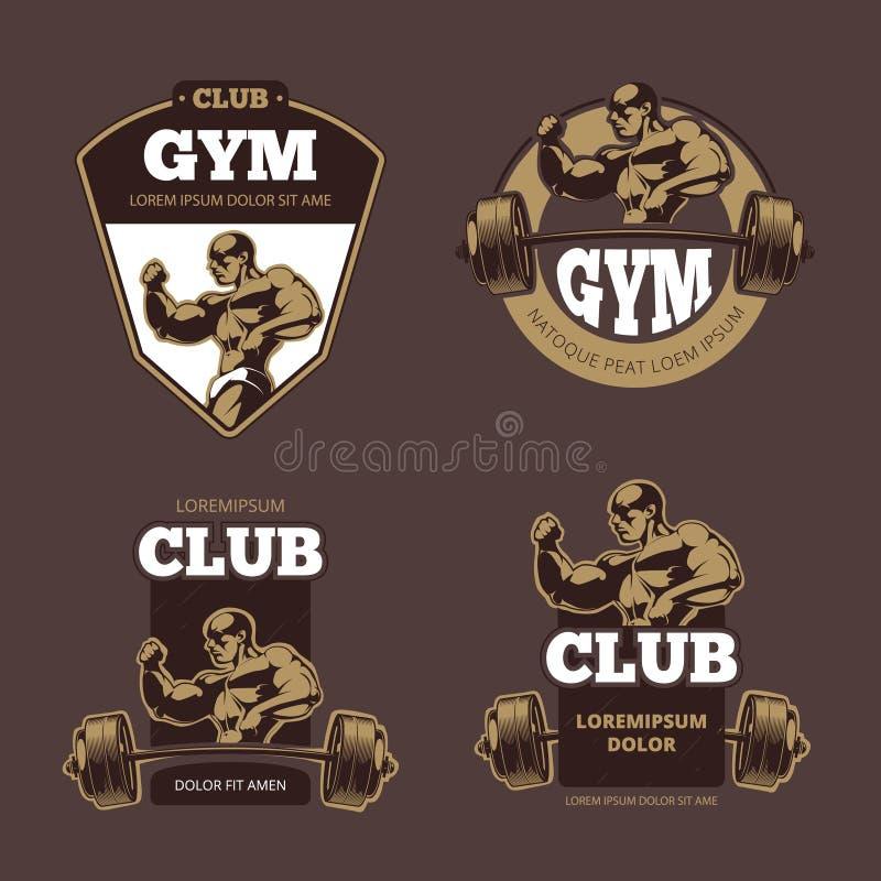 Forma fisica ed emblemi di sport del culturista retro, etichette, distintivi, logos illustrazione vettoriale