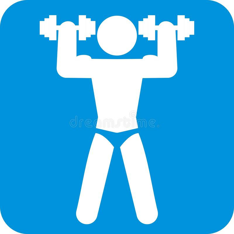Forma fisica, siluetta di maschio con le teste di legno, icona di vettore illustrazione di stock