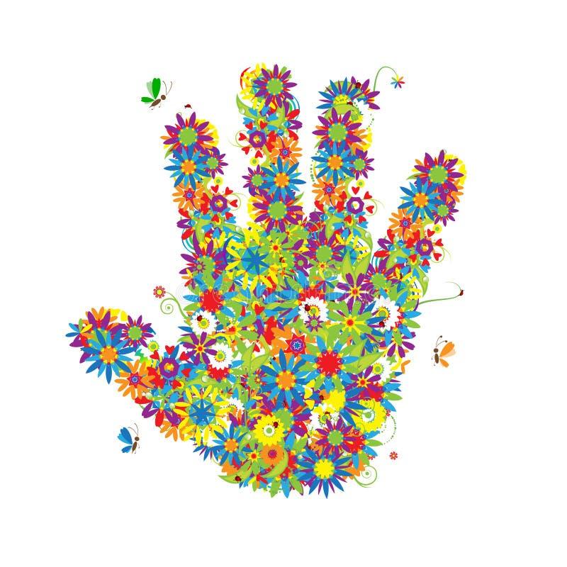 Forma floral da mão. ilustração stock
