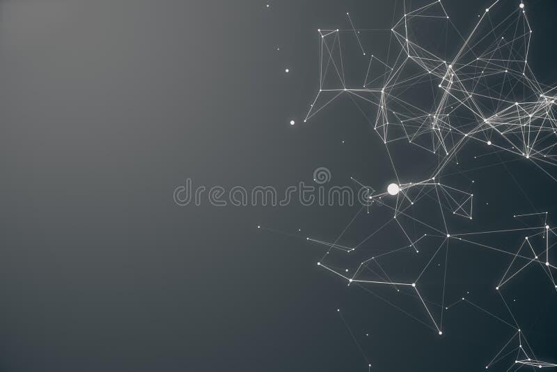 Forma futurista da conexão tecnologico Gray Dot Network Fundo abstrato, Gray Background Conceito da rede ilustração stock
