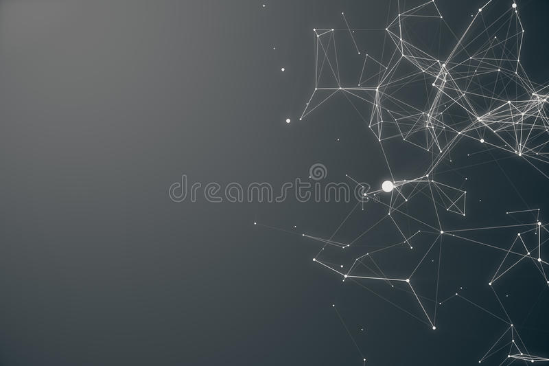 Forma futurista de la conexión tecnológica Gray Dot Network Fondo abstracto, Gray Background Concepto de red stock de ilustración