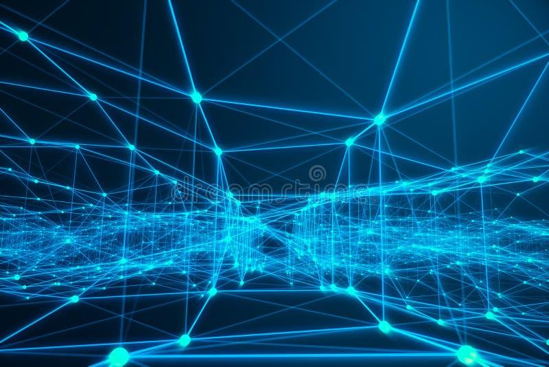 Forma futurista de la conexión tecnológica, red azul del punto, fondo abstracto, fondo azul, concepto de red