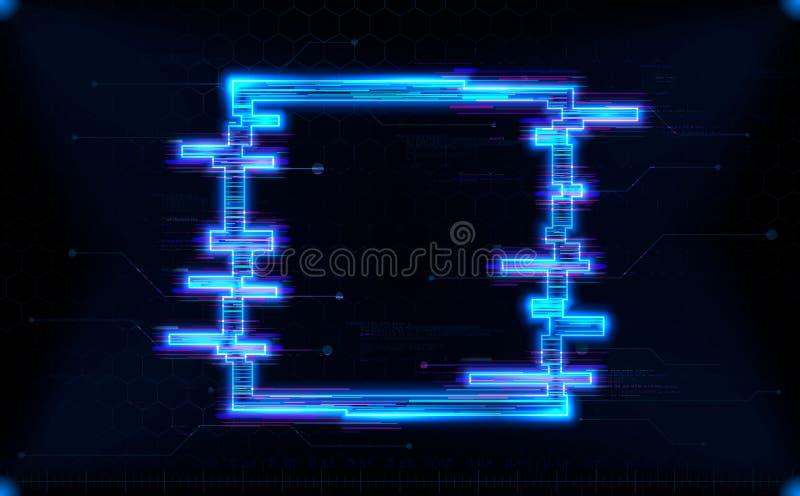 Forma futurista do quadrado de HUD do holograma com incandescência de néon ilustração royalty free