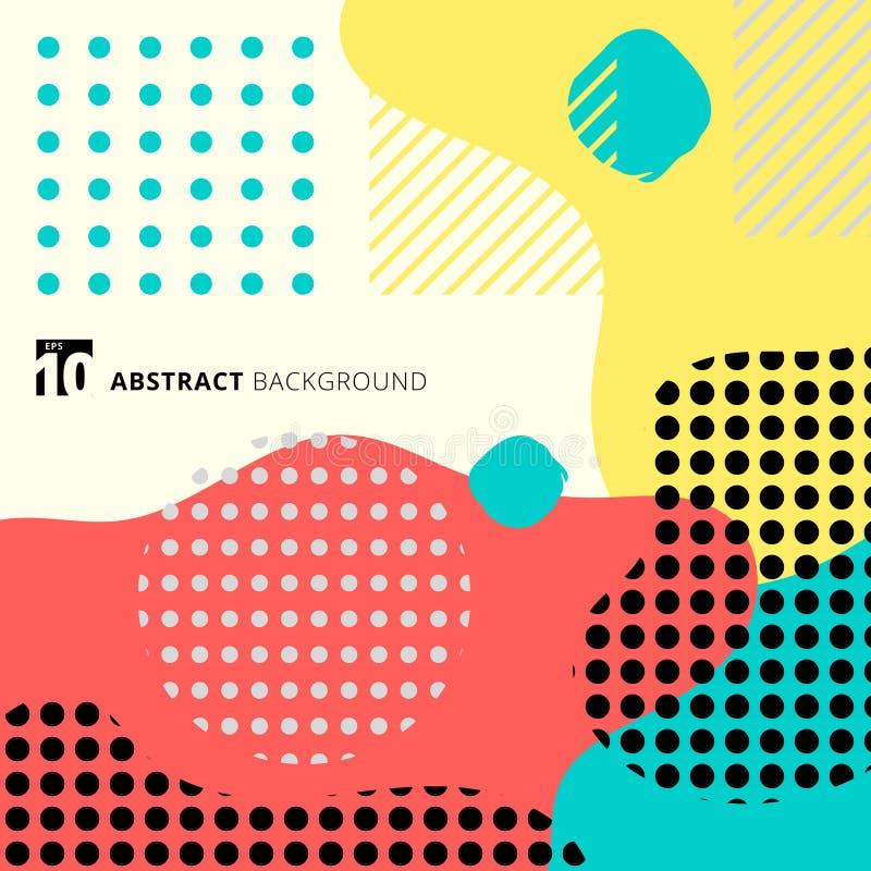 Forma geométrica abstracta con memphi de moda de la línea y del modelo de puntos libre illustration