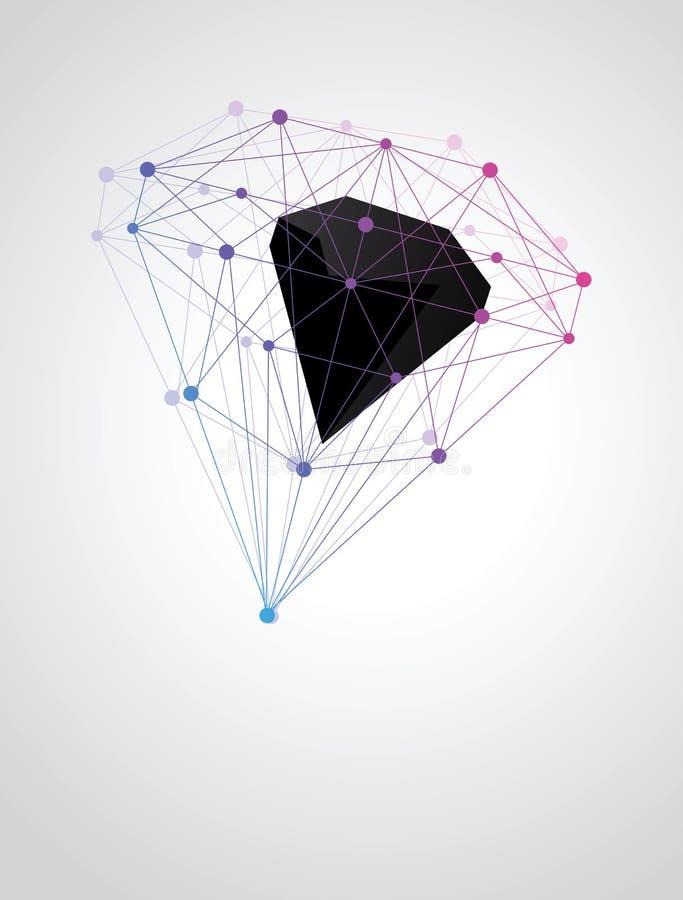 Forma geométrica abstracta de compuestos moleculares stock de ilustración
